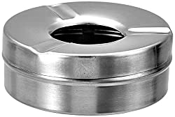 Silver stainless steel ash tray with lid
