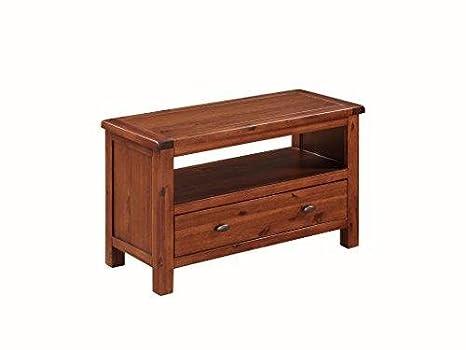 Pendleton acacia piccolo mobile TV con ripiano e cassetto–Armadietto TV al plasma–Finitura: acacia rovere scuro–salotto