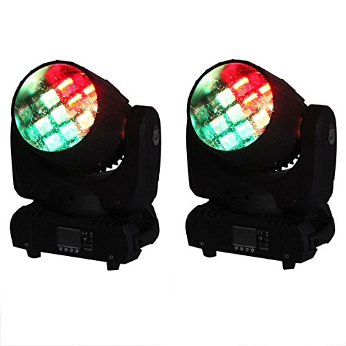 Yiscor Stage Lighting Led Moving Head Spot Beam Light 12X10W Rgbw 4-In-1 Fireworks Dmx512 For Dj Disco Club Home Garden Xmas Christmas Birthday Party Show Effect (Pack Of 2)