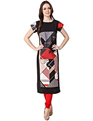 Binny Creation Women's Art Crepe Digital Print Straight Kurta (BK1019-SC-11)