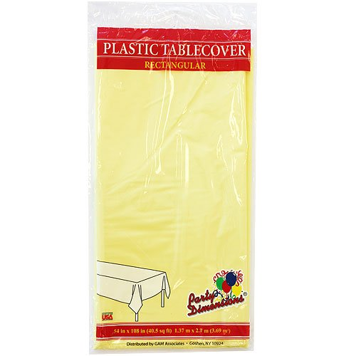 """Plastic Rectangular TableCovers 54"""" x 108"""" - 20 Colors Color: Yellow"""
