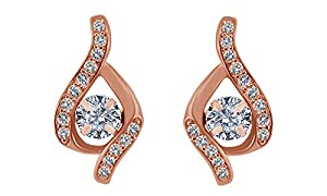 1/3 Carat Natural Diamond 14K Rose Gold Illusion Dangle Earrings