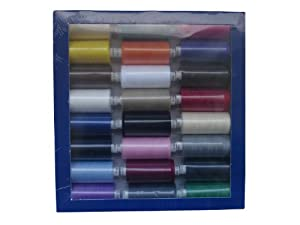 SPUN POLYESTER SEWING MACHINE THREAD- MOON THREAD - PACK OF ASSORTED/MIXED COLOURS - 24 x 1000YD - 120s (REGULAR COLOURS)