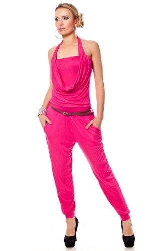Neckholder Overall Jumpsuit Chino Style inkl. Gürtel (Einheitsgröße, Pink)