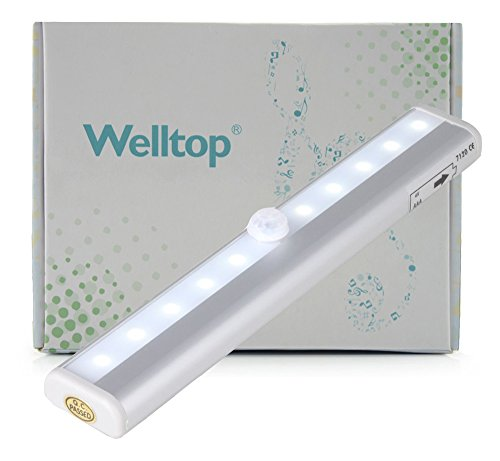 Welltop® Diy Stick-On Anywhere Portable Super Bright Wireless Pir Motion Sensor 10-Led Battery Powered Closet Cabinet Led Night Light / Stairs Light / Step Light Bar With Magnetic Strip (Battery Operated) - Silver (Cool White)