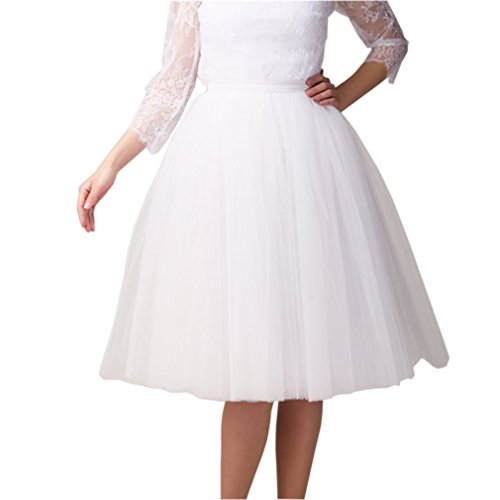Lisong Women Tea Length Layered Tulle A-line Party Prom Skirt 2 US White