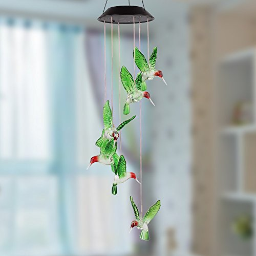 Amzdeal Hummingbird Solar Mobile Solar Mobile Wind Chime Solar Powered LED Light Color Changing Hummingbird Wind Chimes for Outdoor Garden Décor Christmas (Wind Mobile compare prices)