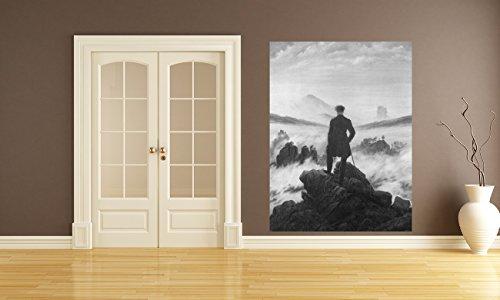 "Bilderdepot24 Fotomurale autoadesivo Fototapete Caspar David Friedrich - Antichi Maestri ""Viandante sul mare di nebbia - bianco e nero"" 150x200 cm - direkt vom Hersteller"
