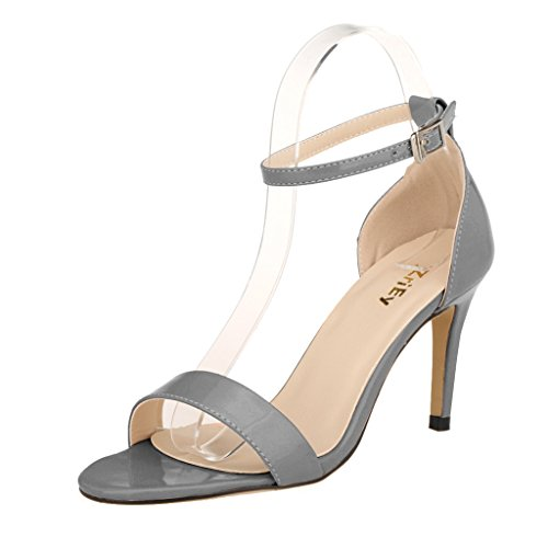 ZriEy Women Ankle Straps Mid Heel Sandals Sexy Open Toe for Party Wedding Dancing Gray size 8.5