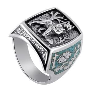 Turquoise Gemstone Inlay Southwestern Silver Wolf Ring Size 7 to 15