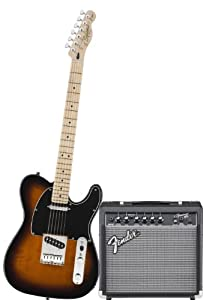 Squier by Fender Tele Electric Guitar Pack w/ Frontman 15G, Brown Sunburst