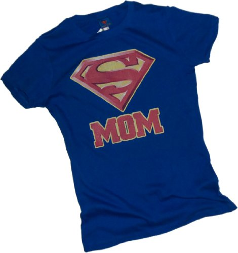 Super Mom Shield &#8212; Superman Crop Sleeve Fitted Juniors T-Shirt
