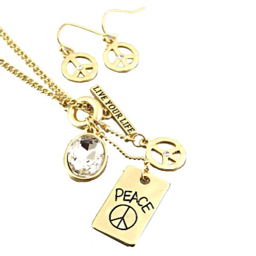 Fashion Necklace and Earring Set with Matte Gold Plated Necklace With Peace