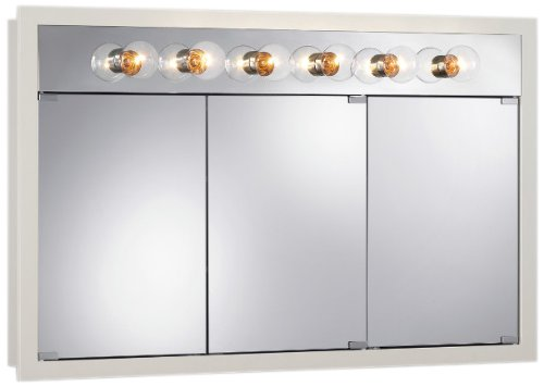 Jensen 755387 48 By 30 By 4-3/4-Inch Granville Lighted Medicine Cabinet With Six Bulbs, Classic White front-337392