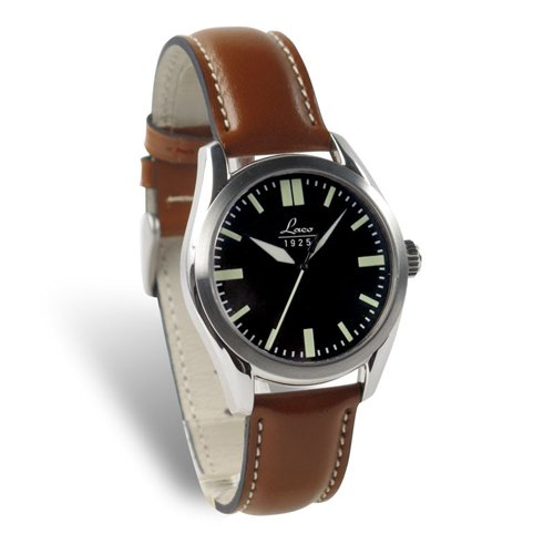 Laco 1925 Women's Automatic Watch with Black Dial Analogue Display and Brown Leather Strap 861615