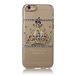 iPhone 6S Plus Case, STENES Luxurious Crystal 3D Handmade Sparkle Diamond Rhinestone Clear Cover with Retro Bowknot Anti Dust Plug - Crown / Clear