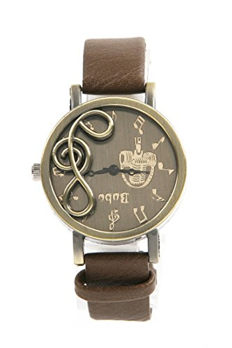 Shot-In New Retro Musical Note Dial Quartz Movement Watch With Pu Leather Wrist Watch (Coffee)