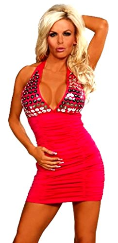 Sex Symbol Gathered Halter Top Dress with Chrome Sequins #2-174 (Available in a Variety of Colors & Sizes), Medium, Red