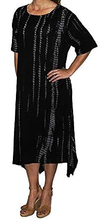 Chai Latte Plus Size Lisa Lagenook Dress by WeBeBop (1X, Black Tie Dyed)