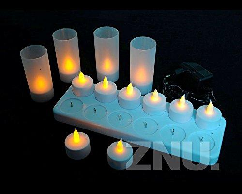 Znu Tealight Flameless Tea Light Candles Led Light For Christmas Wedding Party Restaurants Decoration Rechargeable 12 Pcs