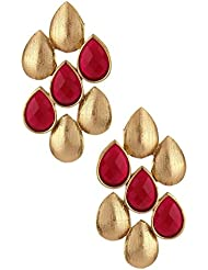 The Jewelbox Antique Matte Gold Plated Ruby Red Drop Designer Earring