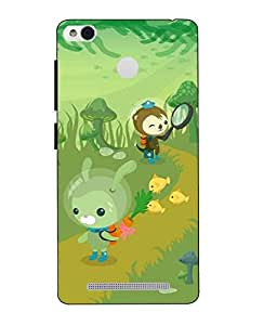 Snazzy Cartoon Printed Green Hard Back Cover For Redmi 3S Prime