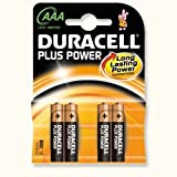New Duracell Plus Battery Alkaline AAA Size 1.5V Ref MN2400B4 [Pack 4]