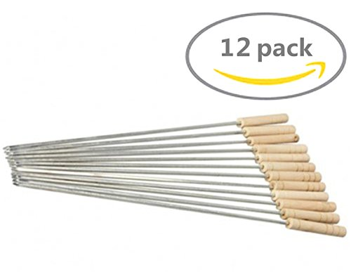 HAKSEN 12 PCS Barbecue Skewers with Wood Handle Marshmallow Roasting Sticks Meat Hot Dog Fork Best for BBQ Camping Cookware Campfire Grill Cooking, Stainless Steel (Camp Roasting compare prices)