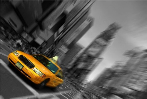 [Startonight Canvas Wall Art Times Square Taxi Cab, New York, Cities USA Design for Home Decor, Dual View Surprise Artwork Modern Framed Ready to Hang Wall Art 31.5 X 47.2 Inch Original Art] (Halloween Decorations New York)