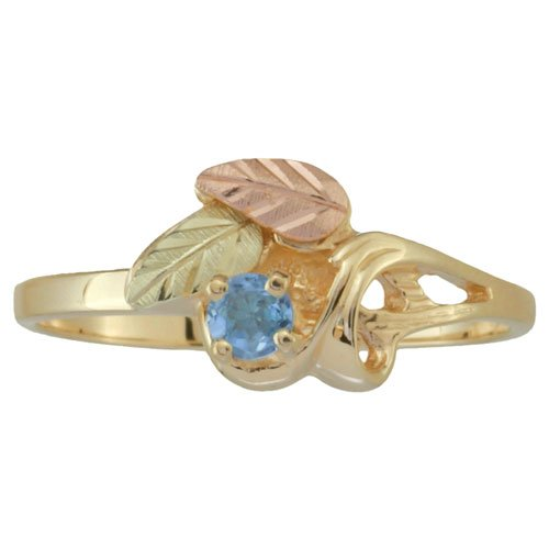 Womens Blue Topaz Ring in 10k Yellow Gold, 12k Pink Gold, 12k Green Gold Black Hills Gold Motif, Size 5.5