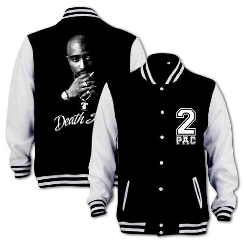 Bang Tidy Clothing Tupac Death Row Varsity College Jacket Black & White L