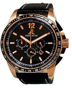 Adee Kaye - AK7141-MRG BLK - Chronograph - Homme Montre - Bracelet en cuir noir