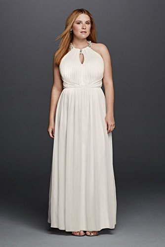 Jersey Beaded Halter Plus Size Wedding Dress with Keyhole Style 264942W,...