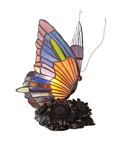 River Of Goods Stained Glass Butterfly Accent Lamp, Multi