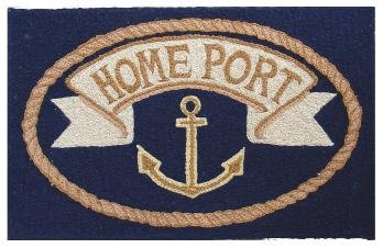 Hooked Rug Indoor Outdoor Washable Kitchen Rug, Bathroom Mat 2 Ft. X 3 Ft.  Beach Theme Nautical Décor Anchor