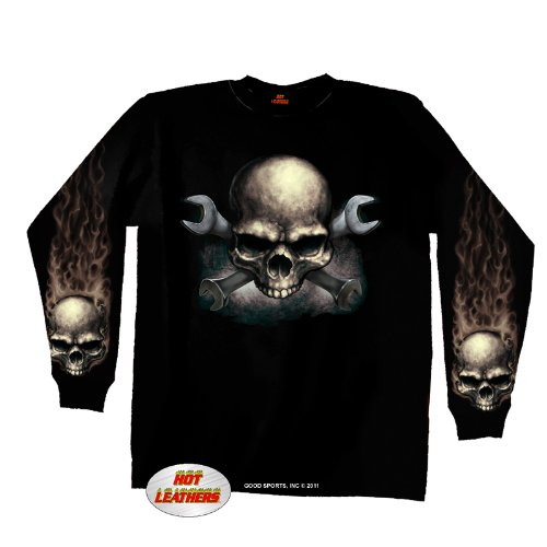 Hot Leathers Skull & Wrench Bones Long Sleeve T-Shirt (Black, X-Large)