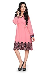 7 Colors Lifestyle Women's Chiffon Kurti (AAYKR3015FRXL_Pink_X-Large)
