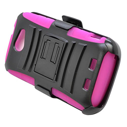 Eagle Cell ZTE Warp Sync/N9515 Skin Case Plus Hybrid Stand and Holst - Retail Packaging - Hot Pink/Black (Zte Warp Sync Phone Accessories compare prices)