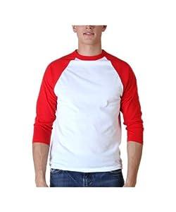 Sport-Tek raglan sleeve men's or youth baseball t-shirt, small, white-red