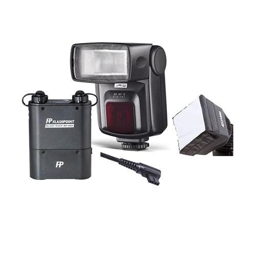 Metz 36 Af-5 Adi Flash For Sony Digital Cameras - Bundle With Flashpoint Blast Power Pack, Fp Blast Pack Flash Cable F/, Fp Mini Softbox Diffuser front-262738