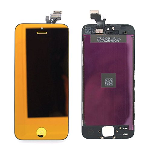 New For Iphone 5C Mirror Metallic Half Gold/Full Gold/Silver/Full Blue/Full Red Complete Front Housing Lcds Display And Touch Screen Digitizer Replacement Assembly+Home Button Key Color Conversion Kit Spare Parts, Free Tools, Epacket Shipping (Full Gold)