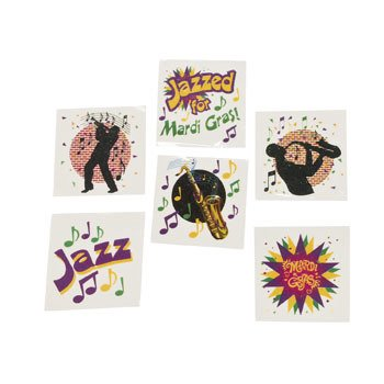 Mardi Gras Jazz Tattoo Assortment - Mardi Gras & Costume Accessories