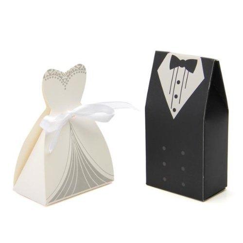 TOOGOO(R) 100 x Boite Box en Papier Bonbons Sucre Cadeau Mariage Fete + 50pcs Ruban