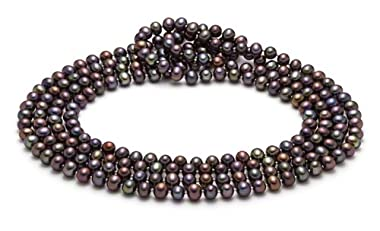 HinsonGayle Handpicked Ultra-Iridescence 6.5-7.0mm Black Cultured Pearl Rope Necklace (65 Inches)