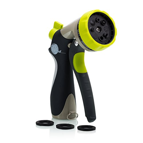 Garden Hose Nozzle - Hand Sprayer - 8 Pattern Adjustable, Heavy Duty Metal Construction - Slip Resistant - With 3 Washer (Nozzle Spray compare prices)
