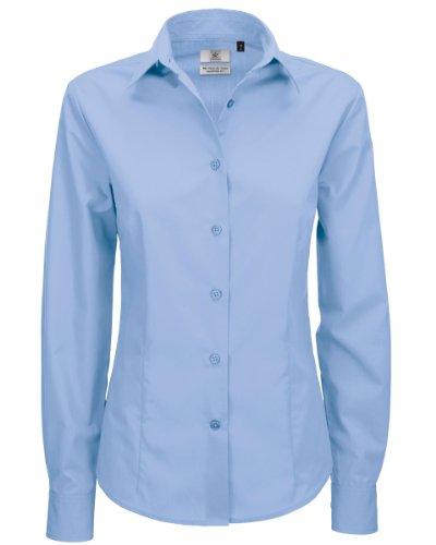 B&C - Camicia Maniche Lunghe - Donna (M) (Azzurro)