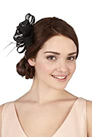 Faux Feather Lace Bow Clip