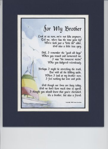 "For My Brother"" Touching 8×10 Poem, Double-matted In Navy/White And ..."