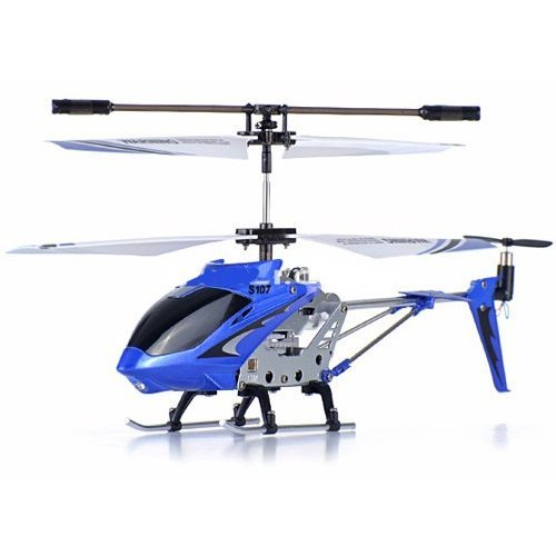GIFT SET OF 3 Genuine Syma S107G 3 Channels Mini Indoor Co-axial Metal Body Frame & Built-in Gyroscope Remote Controlled RC Helicopter (1) Blue (1) Green (1) White With 3 AC Chargers
