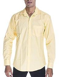 Venga Men's Button Front Shirt (RF003, Yellow, M)